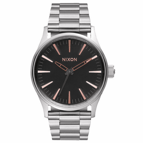 Nixon Sentry 38 SS Watch<br>Grey/Rose Gold