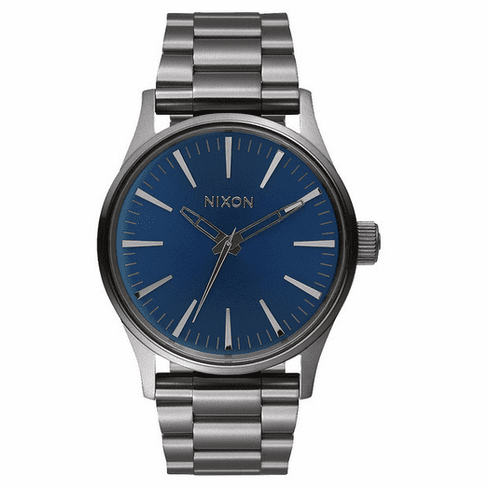 (SALE!!!) Nixon Sentry 38 SS Watch<br>Gunmetal/Cobalt Sunray