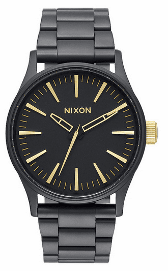 Nixon Sentry 38 SS Watch<br>Matte Black/Gold