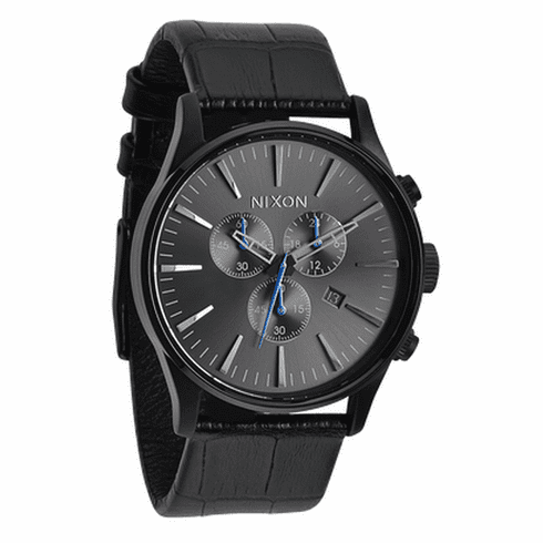 Nixon Sentry Chrono Leather Watch<br>Black Gator