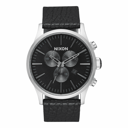Nixon Sentry Chrono Leather Watch<br>Black/Gunmetal/Black