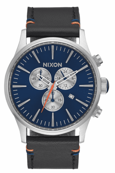 (Sale!!!) Nixon Sentry Chrono Leather Watch<br>Blue Sunray