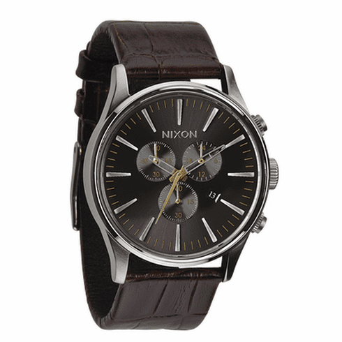 Nixon Sentry Chrono Leather Watch<br>Brown Gator