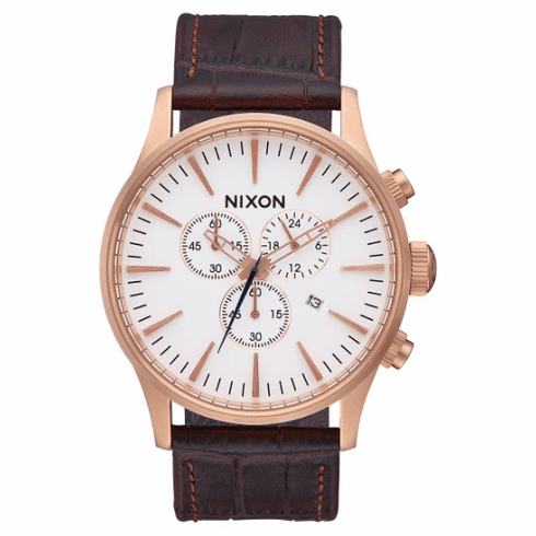 (SALE!!!) Nixon Sentry Chrono Leather Watch<br>Rose Gold/Brown Gator