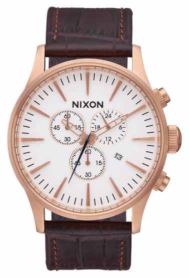 Nixon Sentry Chrono Leather Watch<br>Rose Gold/Brown Gator