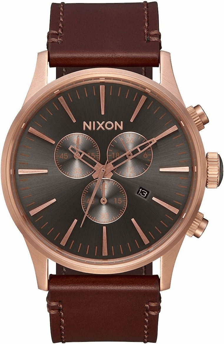 Nixon Sentry Chrono Leather Watch<br>Rose Gold/Gunmetal/Brown