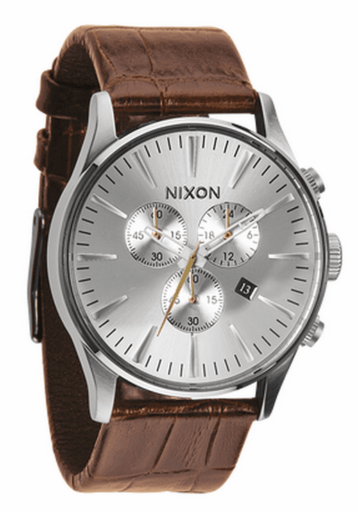 Nixon Sentry Chrono Leather Watch<br>Saddle Gator