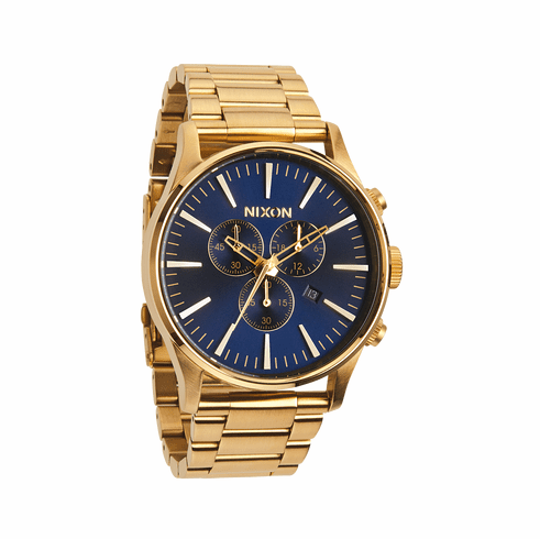 Nixon Sentry Chrono Watch<br>Gold/Blue Sunray