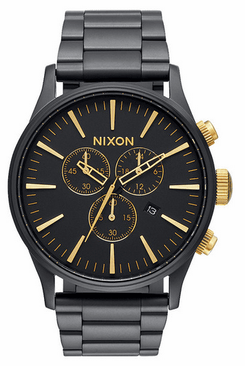 Nixon Sentry Chrono Watch<br>Matte Black/Gold