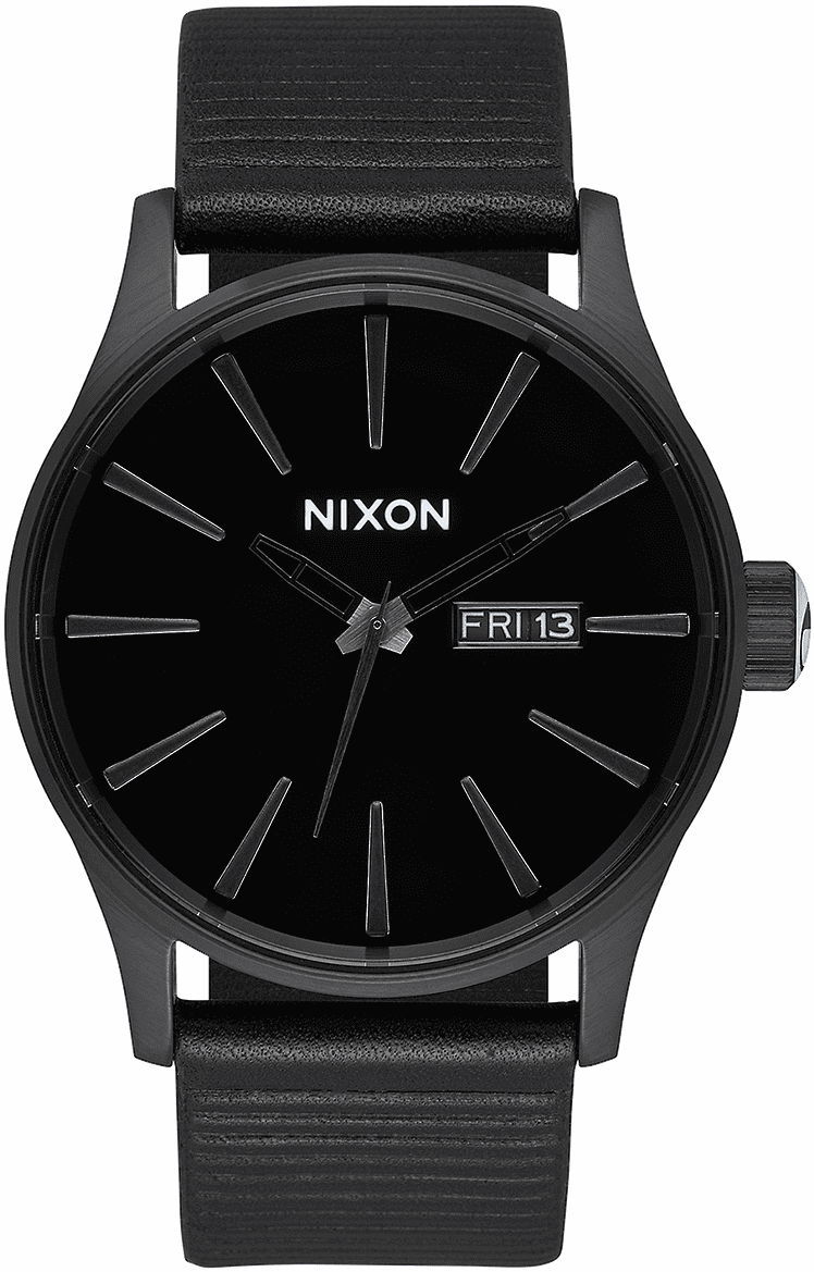 Nixon Sentry Leather Watch<br>All Black/Black
