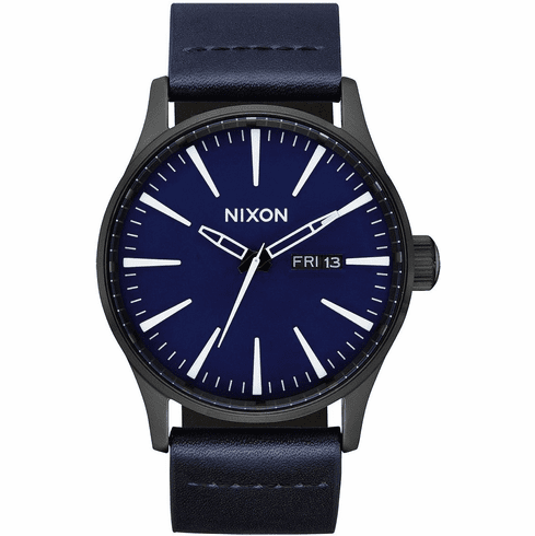 Nixon Sentry Leather Watch<br>All Black/Dark Blue