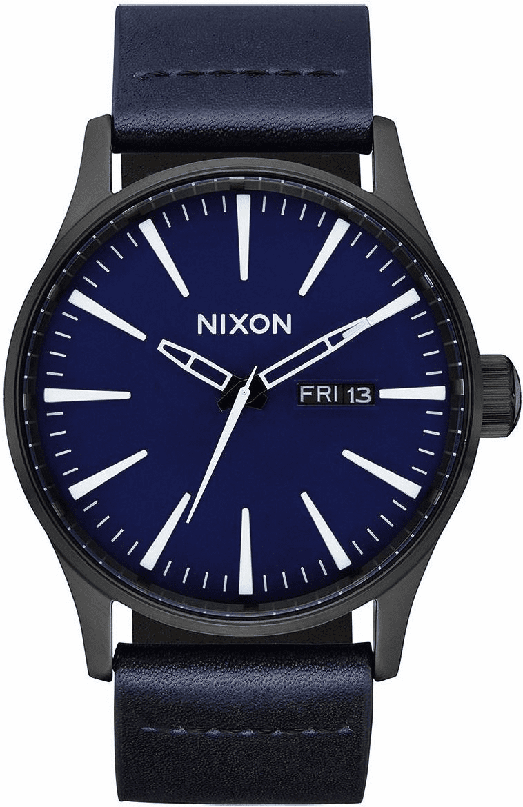 (SALE!!!) Nixon Sentry Leather Watch<br>All Black/Dark Blue