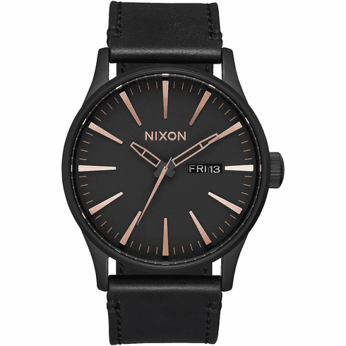 (SALE!!!) Nixon Sentry Leather Watch<br>All Black/Rose Gold