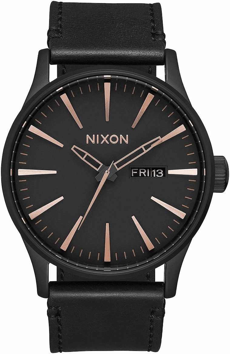 Nixon Sentry Leather Watch<br>All Black/Rose Gold