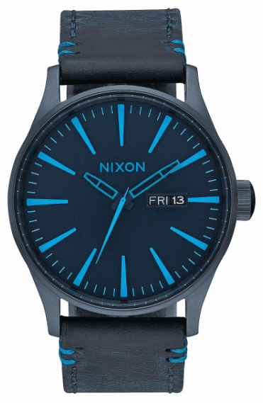 Nixon Sentry Leather Watch<br>All Dark Blue