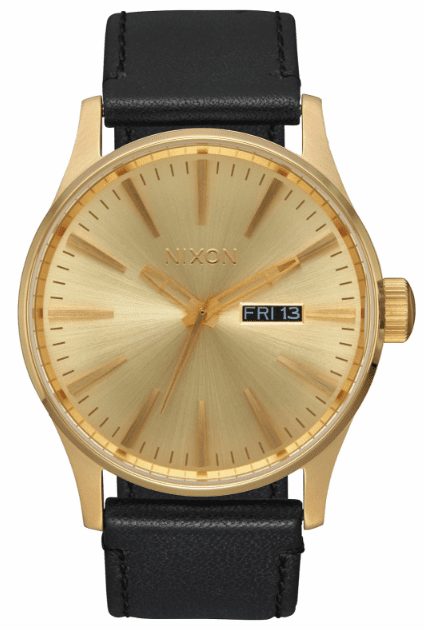 (SALE!!!) Nixon Sentry Leather Watch<br>All Gold/Black