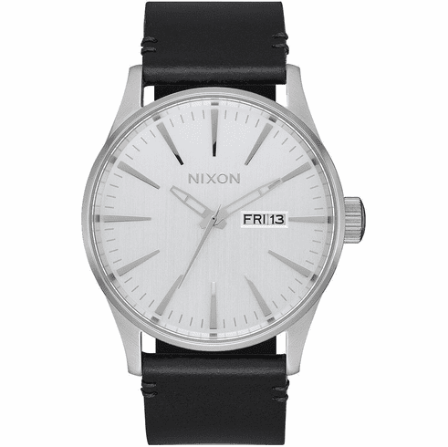 Nixon Sentry Leather Watch<br>All Silver/Black