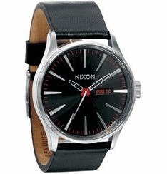 Nixon Sentry Leather Watch<br>Black