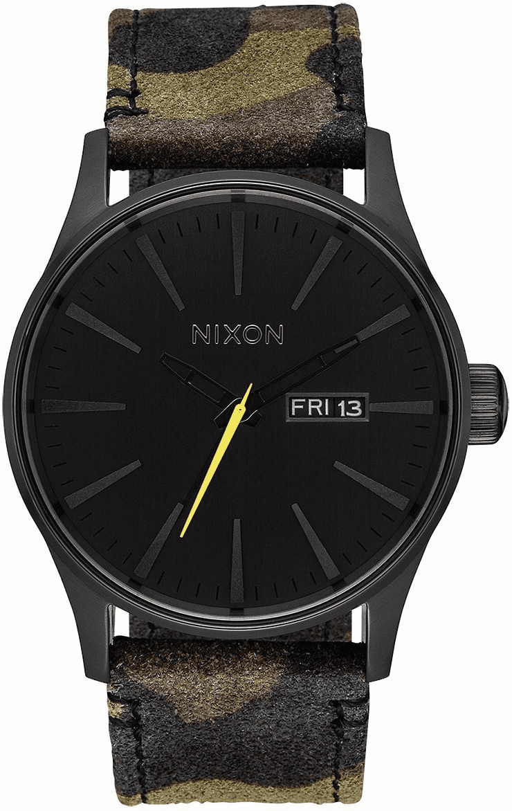 Nixon Sentry Leather Watch<br>Black/Camo/Volt