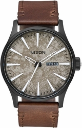 Nixon Sentry Leather Watch<br>Black/Concrete