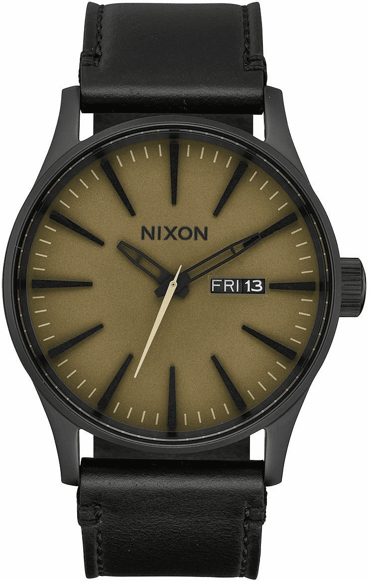 (SALE!!!) Nixon Sentry Leather Watch<br>Black/Matte Sage/Black