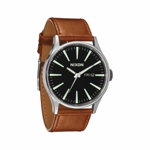 Nixon Sentry Leather Watch<br>Black/Saddle