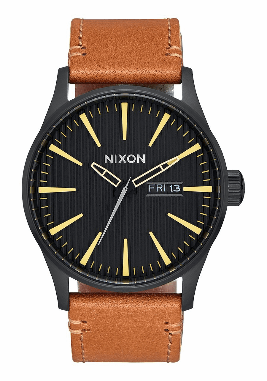 Nixon Sentry Leather Watch<br>Black/Stamped/Brown