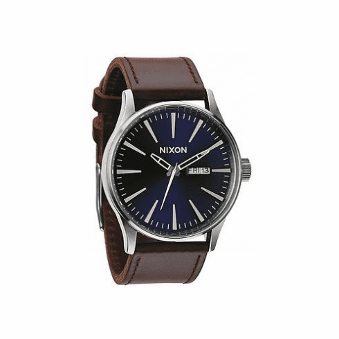 Nixon Sentry Leather Watch<br>Blue/Brown<br>