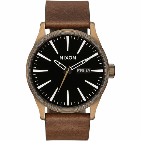Nixon Sentry Leather Watch<br>Brass/Black/Brown