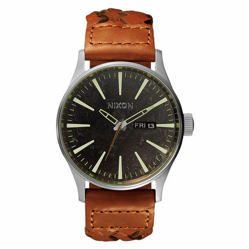 Nixon Sentry Leather Watch<br>Dark Copper/Saddle Woven