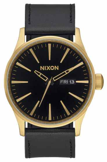 Nixon Sentry Leather Watch<br>Gold/Black