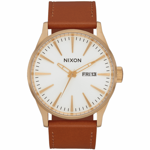 Nixon Sentry Leather Watch<br>Gold/White/Saddle