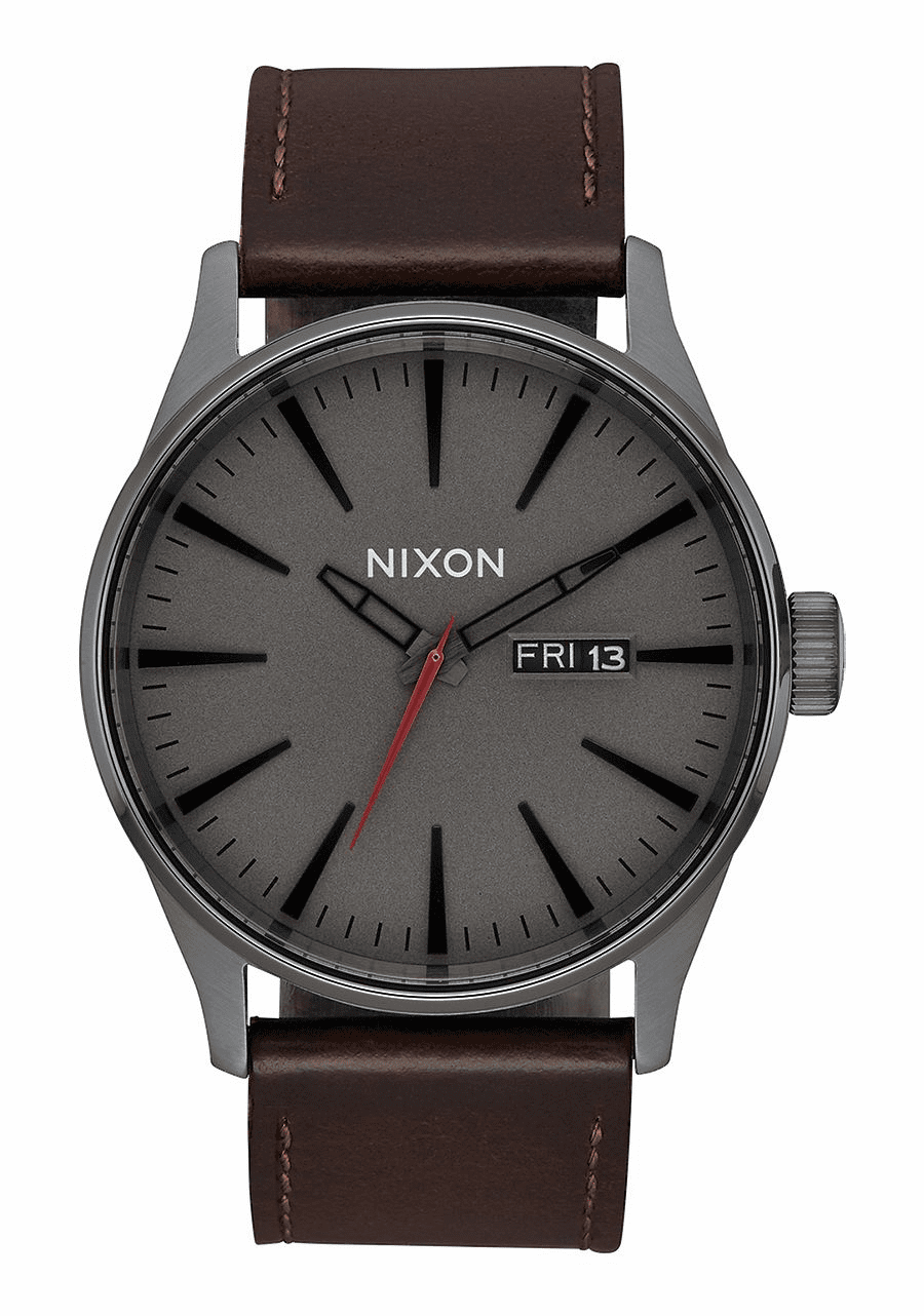 Nixon Sentry Leather Watch<br>Gunmetal/Black/Dark Brown