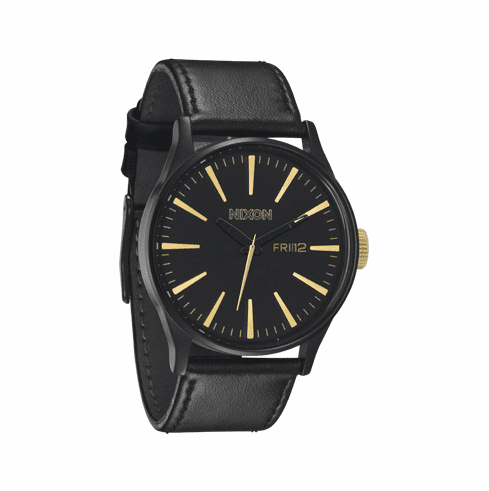 Nixon Sentry Leather Watch<br>Matte Black/Gold