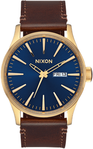 Nixon Sentry Leather Watch<BR>Mens