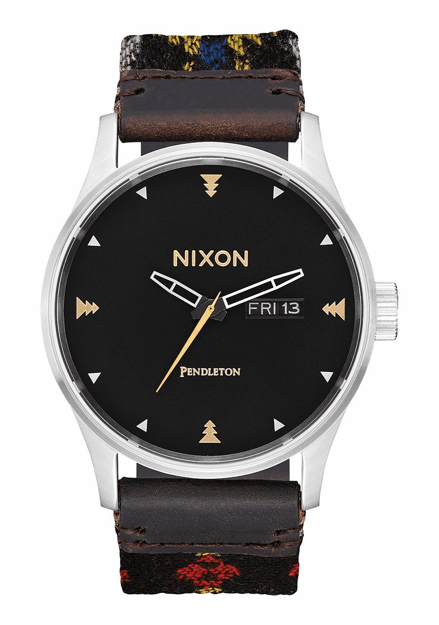 Nixon Sentry Leather Watch<br>Midnight Eyes