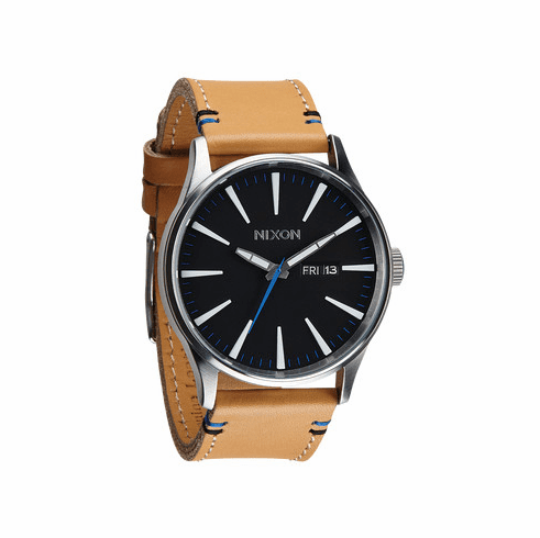 Nixon Sentry Leather Watch<br>Natural/Black