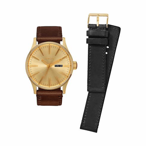(SALE!!!) Nixon Sentry Leather Watch Pack<br>All Gold/Black/Brown