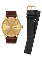 Nixon Sentry Leather Watch Pack<br>All Gold/Black/Brown