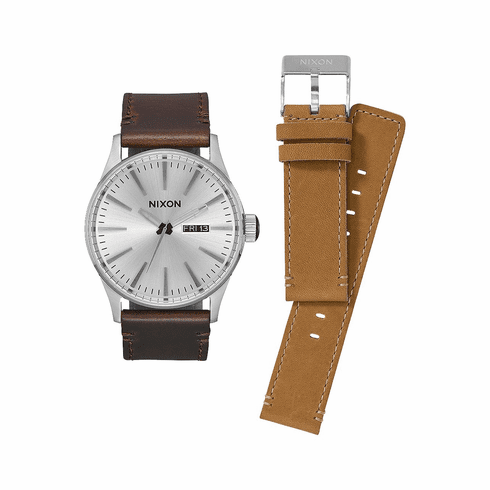 (SALE!!!) Nixon Sentry Leather Watch Pack<br>White/Brown/Tan