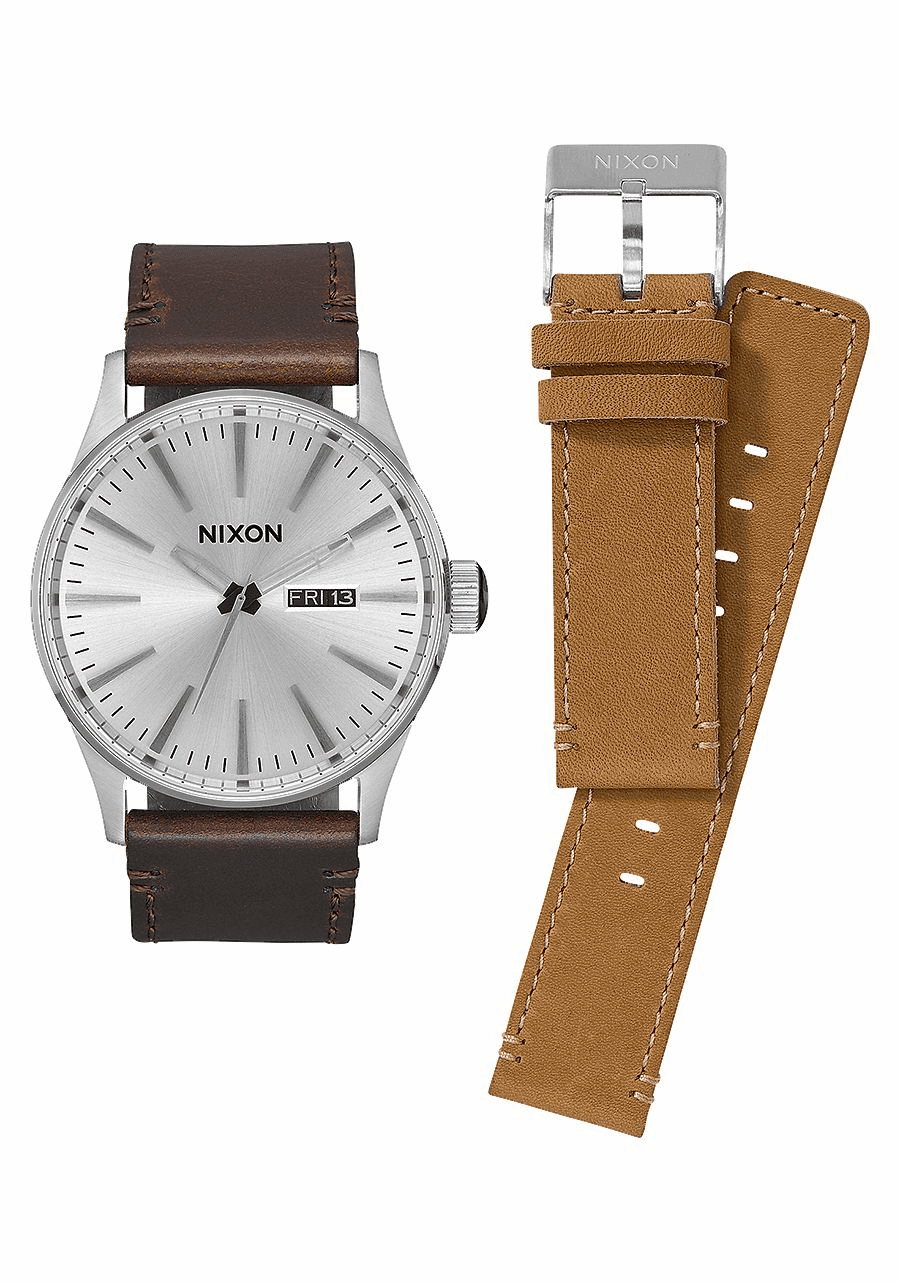 Nixon Sentry Leather Watch Pack<br>White/Brown/Tan