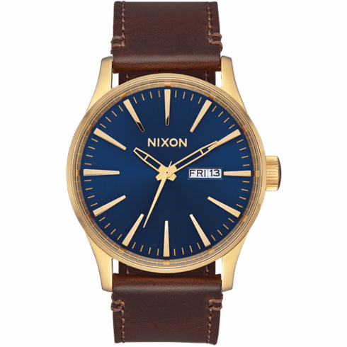 Nixon Sentry Leather Watch<br>Polished Gold/Navy