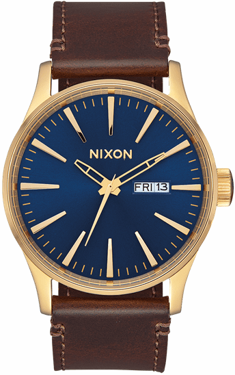 Nixon Sentry Leather Watch<br>Polished Gold/Navy Sunray