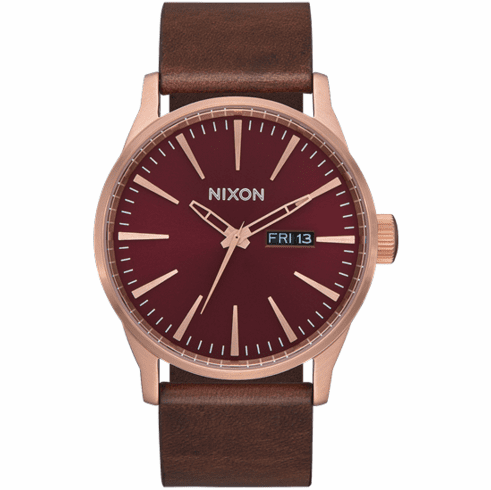 Nixon Sentry Leather Watch<br>Rose Gold/Burgundy/Brown