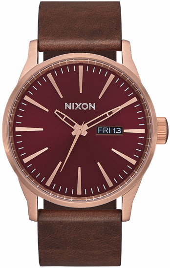 Nixon Sentry Leather Watch<br>Rose Gold/Burgundy