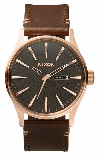 Nixon Sentry Leather Watch<br>Rose Gold/Gunmetal/Brown