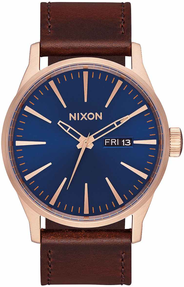 Nixon Sentry Leather Watch<br>Rose Gold/Navy/Brown