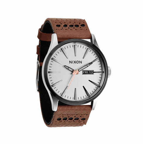 (SALE!!!) Nixon Sentry Leather Watch<br>Saddle/Silver