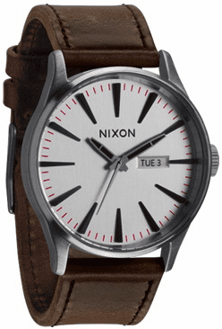 Nixon Sentry Leather Watch<br>Silver/Brown