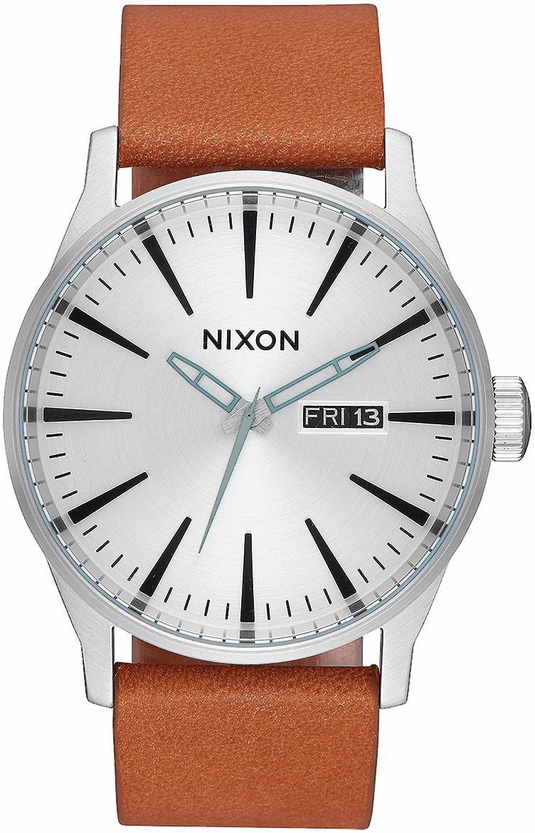 Nixon Sentry Leather Watch<br>Silver/Tan
